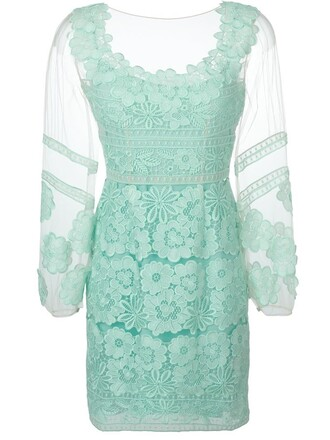 dress lace dress sheer lace green