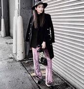 pants,velvet,flare velvet pants,purple,purple pants,nyfw 2017,fashion vibe,streetstyle,streetwear,dope hats