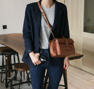 bag tumblr brown bag crossbody bag leather bag blazer blue blazer top striped top denim jeans blue jeans fall outfits office outfits work outfits