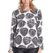 Romwe | romwe leaves print asymmetric black long sleeves blouse, the latest street fashion