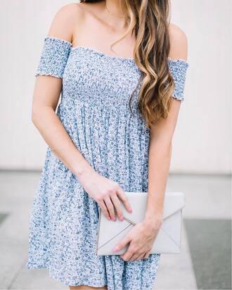 dress tumblr off the shoulder off the shoulder dress blue dress floral floral dress mini dress bag white bag jewels