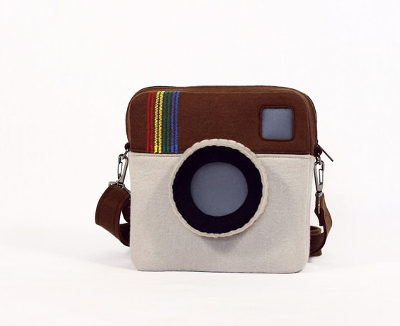 Instagram Purse Brown Beige Felt bag Instagram Bag by krukrustudio