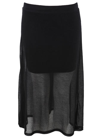 Black double layer midi skirt