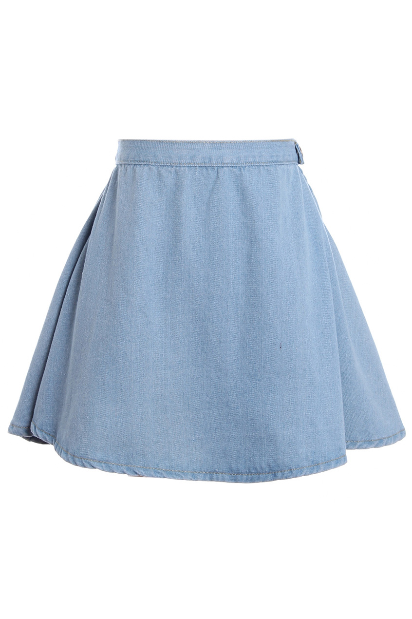 romwe high waist light blue denim skirt the