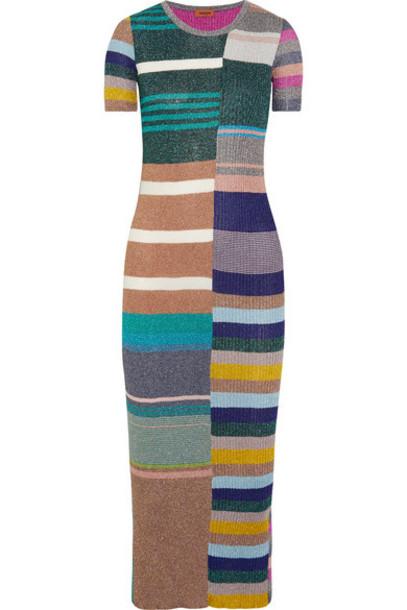 Missoni dress midi dress metallic midi knit green
