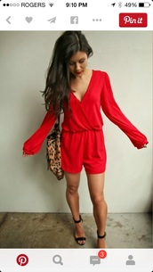 romper,red,long sleeves,shorts