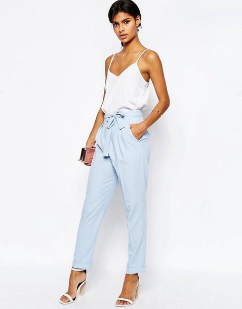 Pants Blue Pants Tie Up Fashion Clothes Classy Tumblr Clothes Cigarette Pants Blue ...