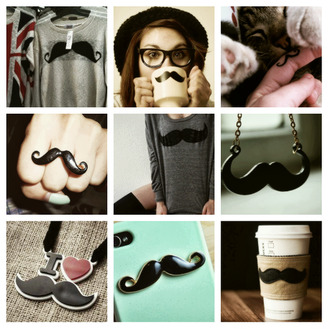 sweater mustache hipster necklace ring iphone cover coffee cup mug