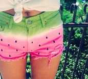 shorts,summer,hot pants,watermelon print,watermelon shorts,pink,green,black,white,cute,cute shorts,cut off shorts,melon,cool,summer shorts,wathermelon,jeans,fruits,funny,vintage,spring,top,dress,etsy,summer trends,pants,??,amazing,melon shorts,girly,shoes