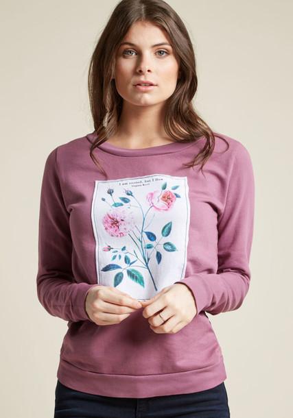 F8022M pullover sweatshirt floral cotton purple sweater