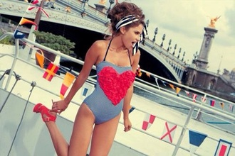 cute sun swimwear bikini denim summer outfits beach stripes striped shirt high heels style outfit streetwear streetstyle party outfits sweet bikini top skinny pants red shoes red heels high waisted bikini striped bikini bandage bikini hair accessories adorable amazing