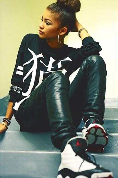 shoes zendaya shirt pants jordans leather pants