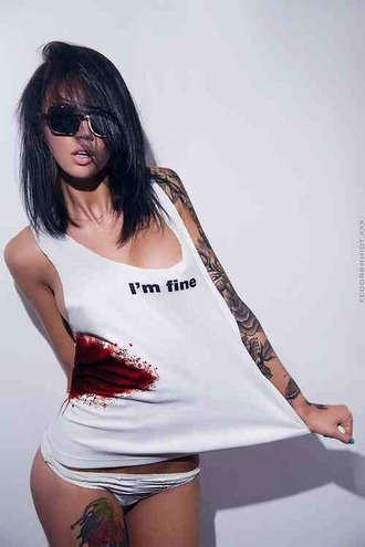 shirt tank top i'm fine bloody triangle funny