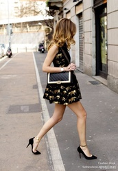 dress,le boy,gold foil,black dress,gold,chanel,shoes