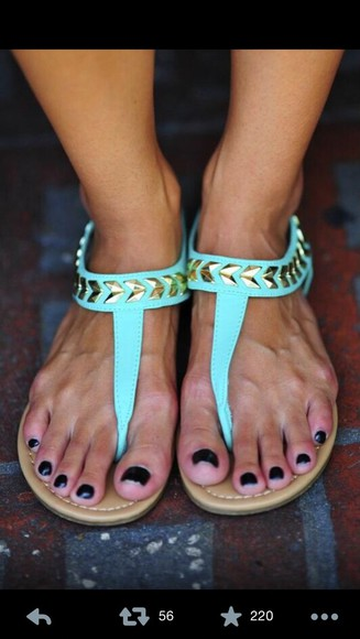 shoes flat sandals gold teal