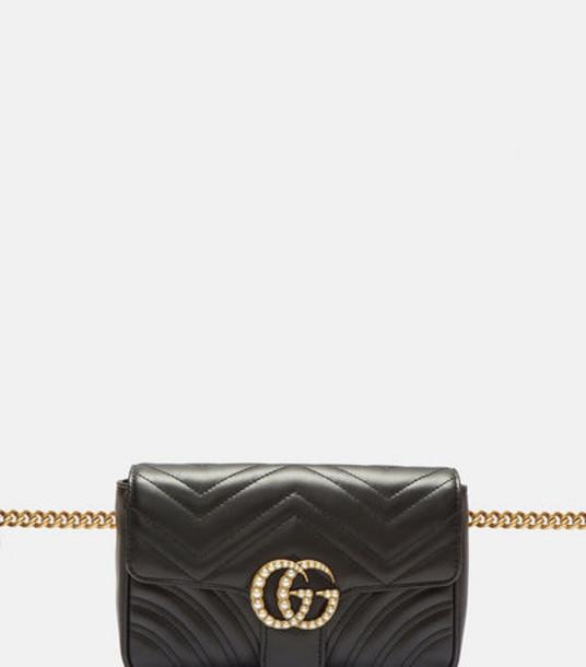 e39489bd7ee3 Gucci Marmont 2.0 GG Pearl Belt Bag in black - Wheretoget