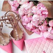 shoes,sandals,pink sandals,valentino rockstud,Valentino,chanel,bag,pink bag,flowers,peonies