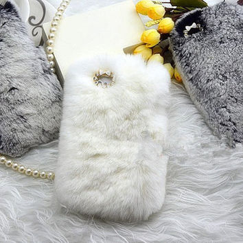 top Rabbit Fur Case for Iphone 4 4s case iPhone 5/5s/5c Case furry iPhone 5s Case, New HTC one Case Galaxy s5 fur S4 S3 Case iPhone 3gs Case on Wanelo