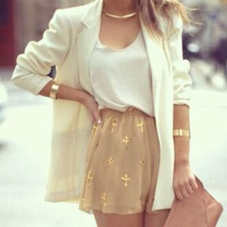 skirt glitter gold gold sequins jacket shorts cross short beautiful bag white blouse white summer top white chiffon top tank top white tank top dressy shirt white blazer white jacket blazer chiffon printed shorts blouse white gold skirt top t-shirt jewels gold jewelry