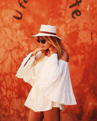 romper french girl hat white romper off the shoulder bell sleeves sun hat white hat all white everything
