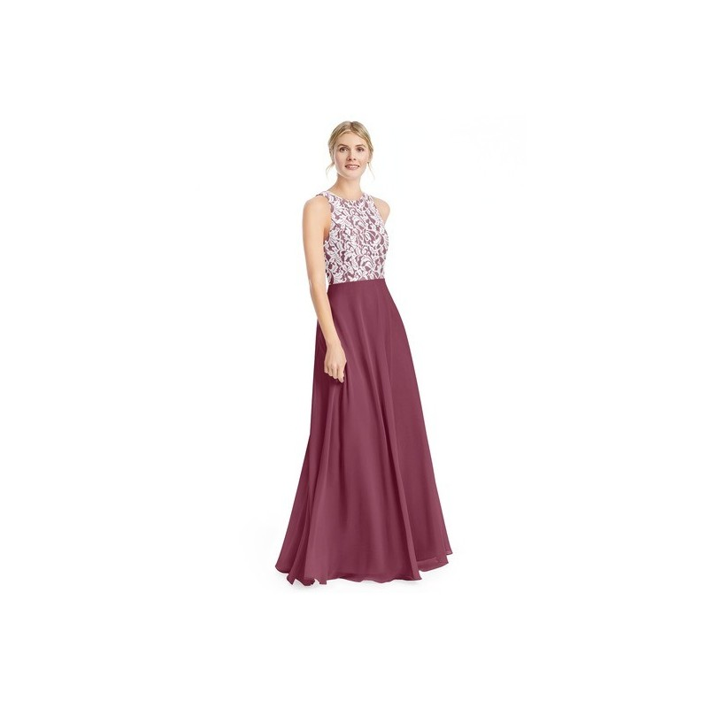 Mulberry Azazie Kate - Scoop Chiffon And Lace Floor Length Back Zip Dress - Simple Bridesmaid Dresses & Easy Wedding Dresses