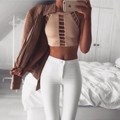 top,nude top,cut-out,crop tops,tank top,nude,sexy,halter neck,open,not sleves,white jeans,jacket,pants