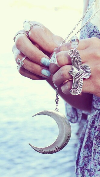jewels moon jewelry accessories accesroy necklace boho bohemian gypsy silver hippie summer collar moon necklace eagle