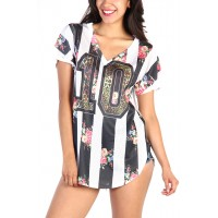 LoveMelrose.com From Harry & Molly   Floral Football Shirt - Black/White