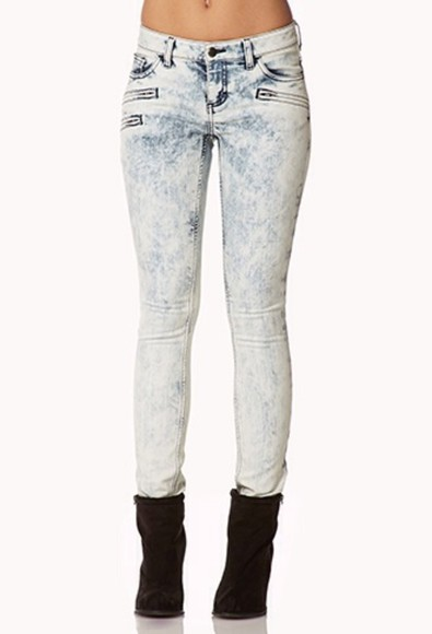 acid wash jeans cute zipper