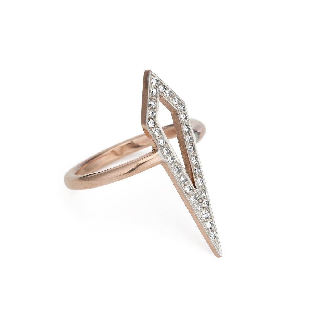 Pave diamond and rose gold kite