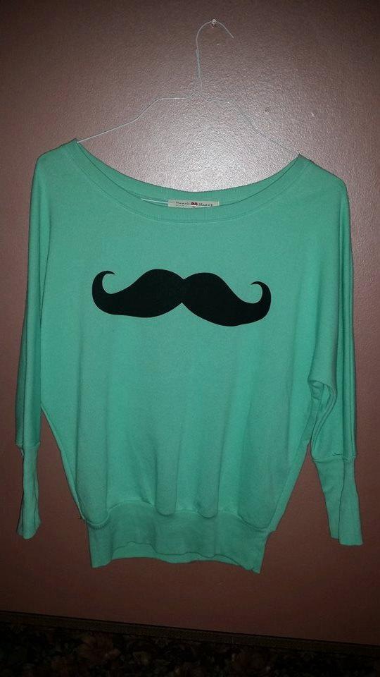 Hipster sea foam green mustache sweater