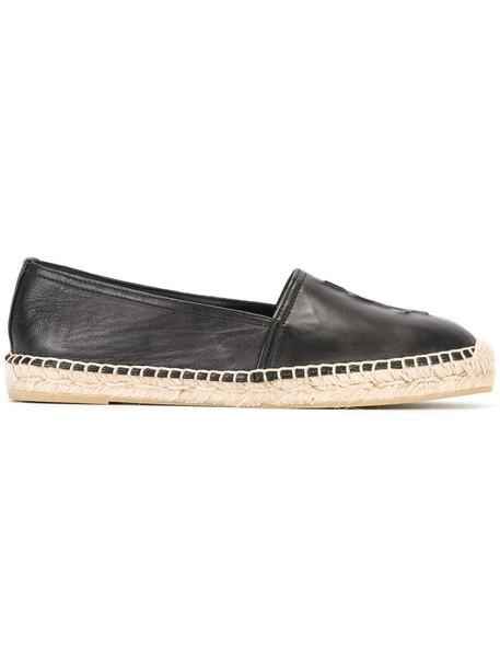 Saint Laurent women espadrilles leather black shoes