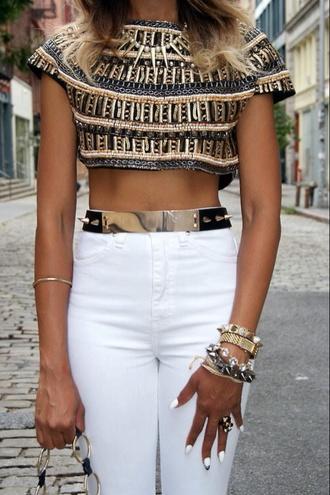 t-shirt crop tops crochet crop tops embrodering gold gold sequins atztec aztec tribal pattern jewels belt blouse pants