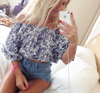 blouse blue white beautiful cropped flowy peasant top off the shoulder floral