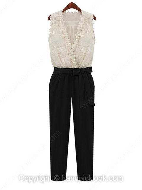Black V-neck Sleeveless Elastic Waist Lace Jumpsuit - HandpickLook.com
