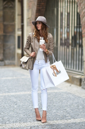 vogue haus blogger top jeans jacket shoes bag hat jewels chloe chloe bag chloe faye bag white top white jeans ripped jeans grey hat pumps pointed toe pumps nude pumps fall outfits shoulder bag nude bag