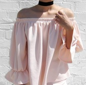 blouse,asian fashion,pink,girly,off the shoulder,summer,scarf,choker necklace,absolutemarket,black choker,jewelry,necklace,black,jewel cult