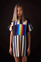 dress,oversized shirt,shirt,t-shirt,t-shirt dress,stripes,black and white,holographic,hipster,colorful,oversized t-shirt,television,glitch,grunge,rainbow,grunge t-shirt