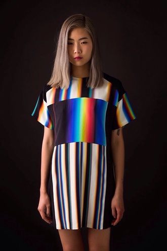 dress oversized shirt shirt t-shirt t-shirt dress stripes black and white holographic hipster colorful oversized t-shirt television glitch grunge rainbow grunge t-shirt