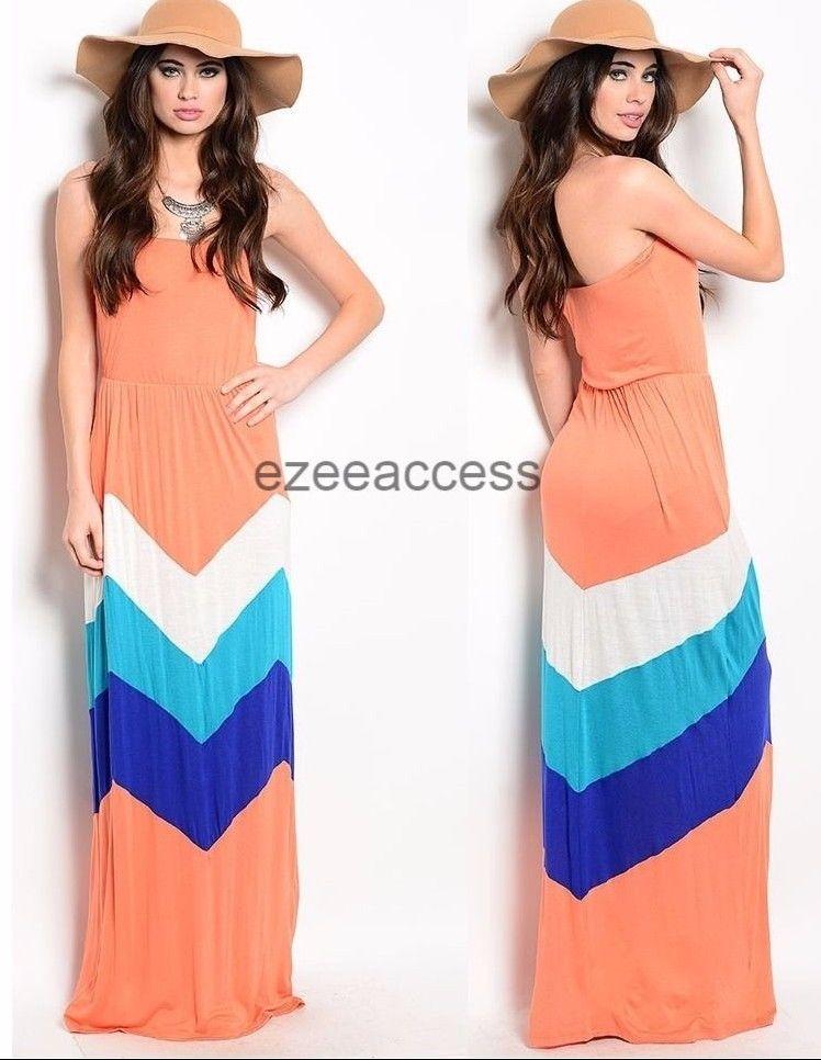 Sexy Women S Dresses Chevron Zigzag Color Block Long Maxi