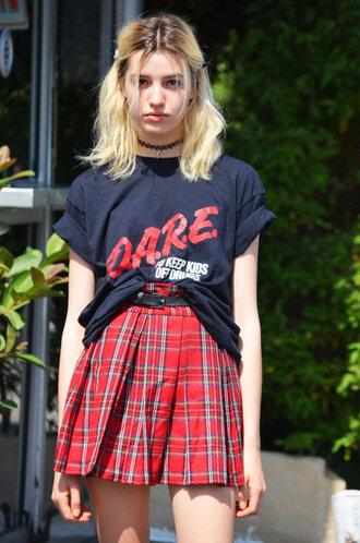 d.a.r.e. shirt plaid skirt