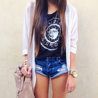 white jacket blue top graphic tee denim shorts shoulder bag nude bag beige bag