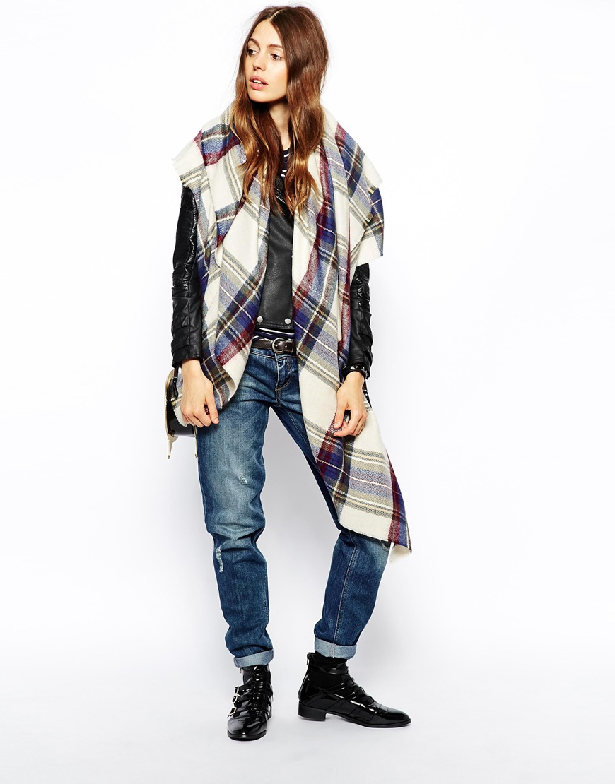 ASOS Oversized Scarf In Check at asos.com