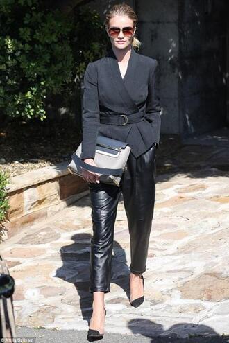 bag leather pants shoes rosie huntington-whiteley jacket