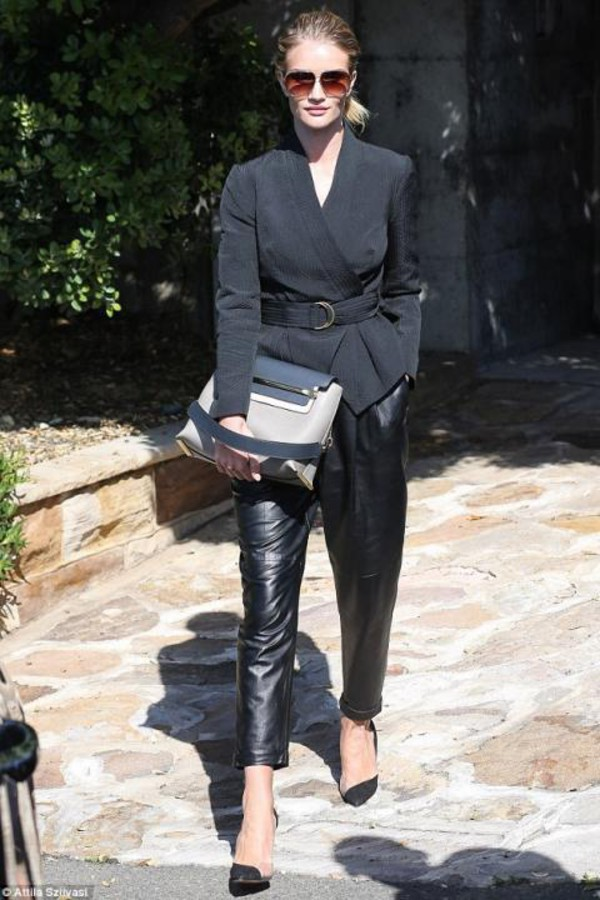 bag leather pants shoes rosie huntington-whiteley jacket leather
