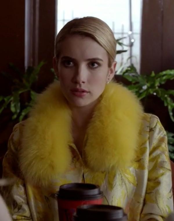 Coat Chanel Oberlin Emma Roberts Scream Queens Yellow Dress Earrings Jewels Wheretoget