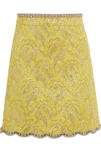 skirt mini skirt mini metallic embellished yellow