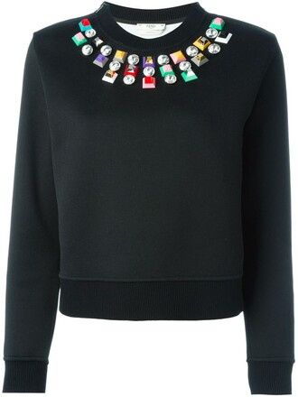sweatshirt embellished black sweater