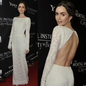 dress,gown,lace,lace gown,red carpet,maxi dress,lace dress,lace bridal gowns,lily collins,cut-out dress,celebrities in white