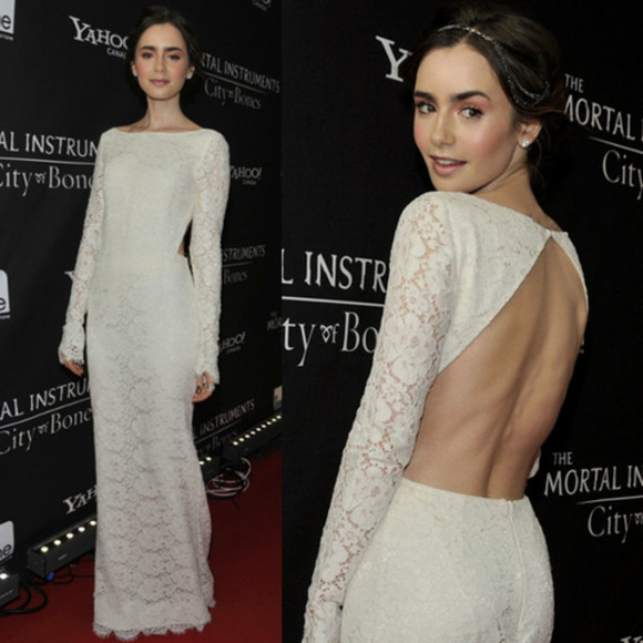 lily collins dress gown lace lace gown red carpet maxi dress lace dress lace bridal gowns cut out dress